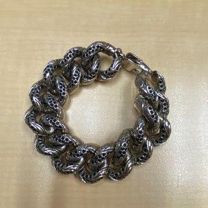 St. John Gun Metal Grey and Black Crystal Bracelet